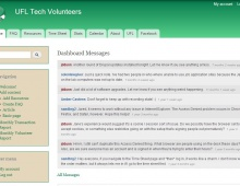 The front page of the UFL Tech Volunteers Online Dashboard.