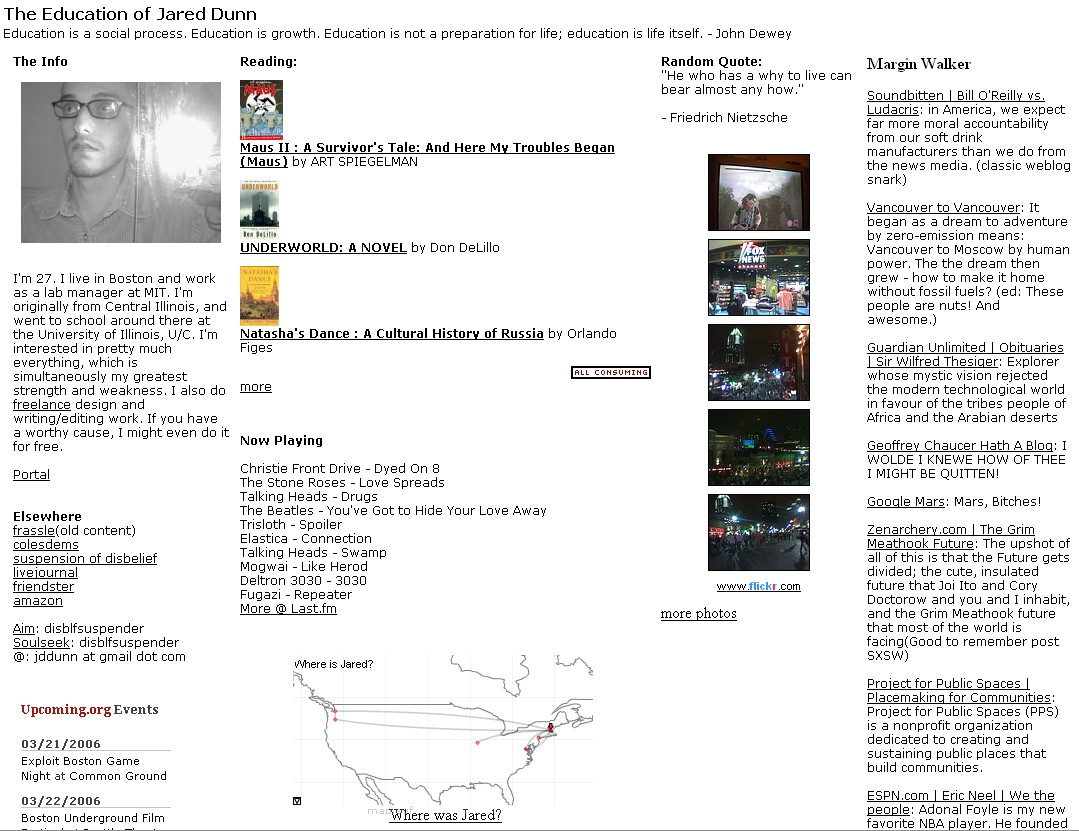 The former front page of jareddunn.org, when I was using it as an aggregator.