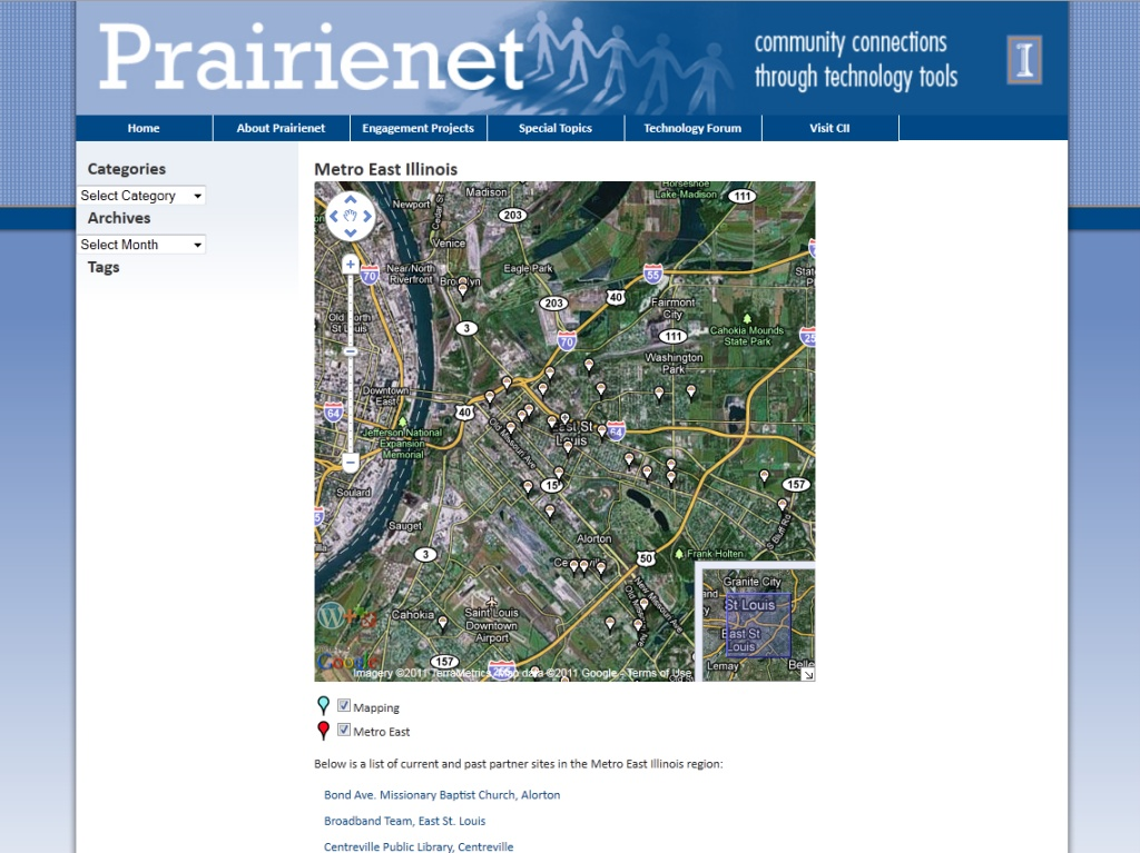 Prairienet Mapping Functionality