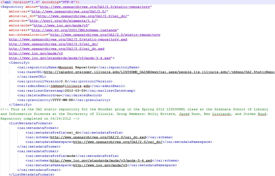 Sample of the code for the OAI-PMH repository created for this project.